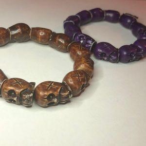 Jewelry - 2 for 1 Stretchy Skull Head Bracelets